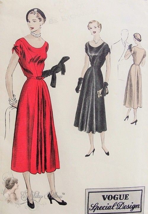 1950 Beautiful Cocktail Evening Party Dress Pattern Figure ...