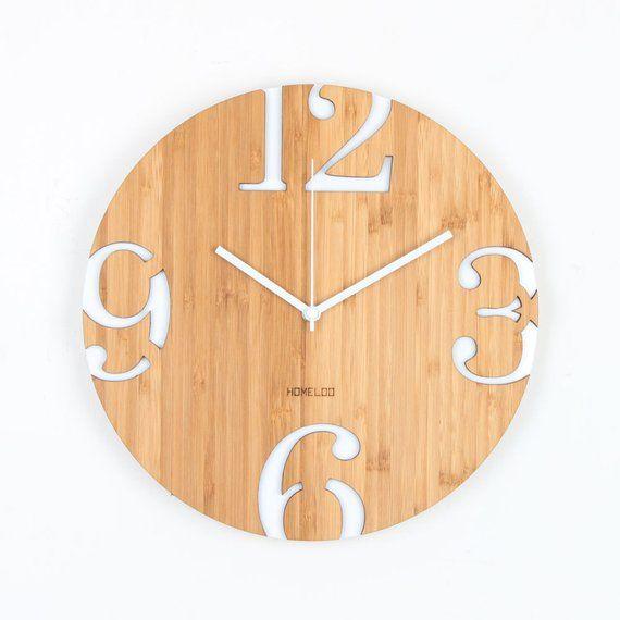 Modern Big Numbers Bamboo Wood Wall Clock White Kucuk Ahsap Projeleri Ahsap Isi Projeler Duvar Saati