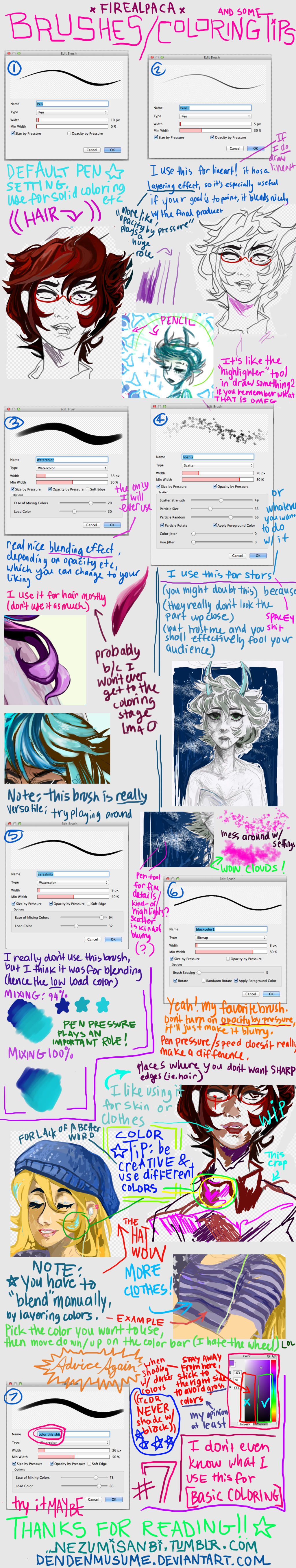Firealpaca: brushes I use by dendenmusume deviantart com on
