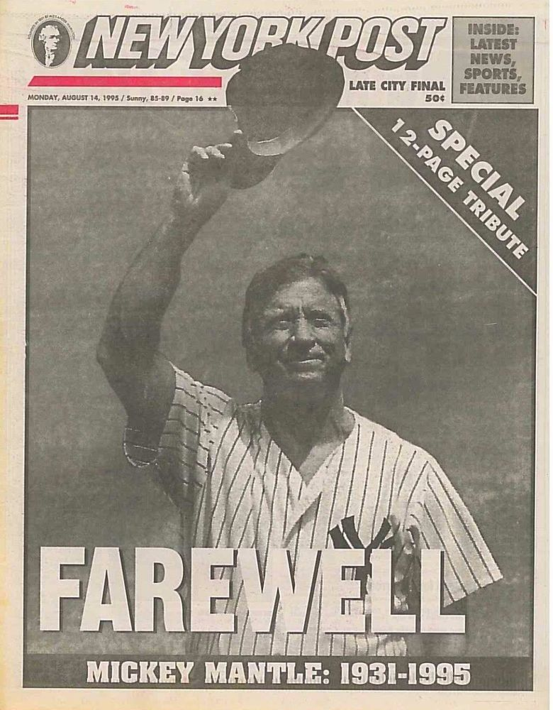 Mickey Mantle 1931-1995 12 Page Special New York Yankees August 14 1995 B2 #NewYorkYankees