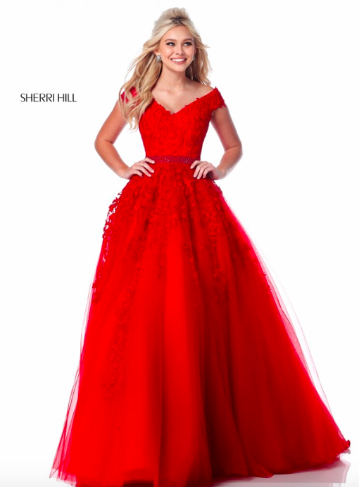 95c751fdc5dd7 Sherri Hill 51905 Spring 2018 Collection Red Ballgown with Sleeves and  Floral Appliqué Ypsilon Dresses Prom Teen Pageant Homecoming Sweethearts  Brides in ...