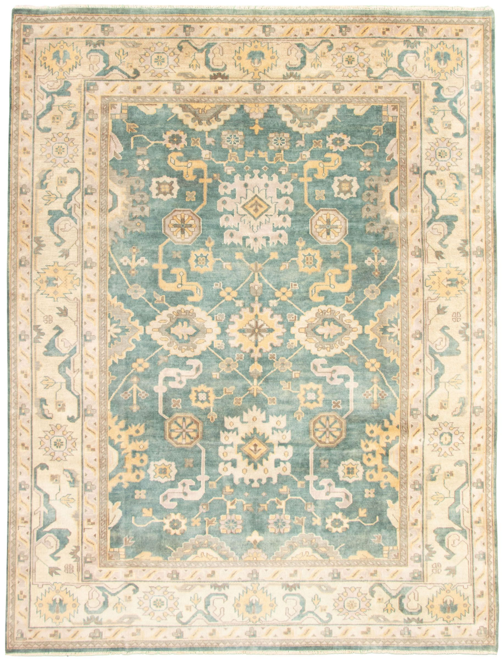 Indian Royal Ushak 9 0 Green Rug Traditional Style Rugs Rugs Hand knotted wool rugs from india