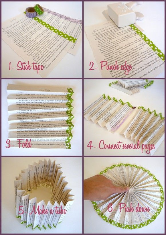 She uses book pages and washi tape to make these swoon-worthy paper fans. Genius! http://catchmyparty.com/blog/washi-tape-paper-fan-medallion-diy-craft