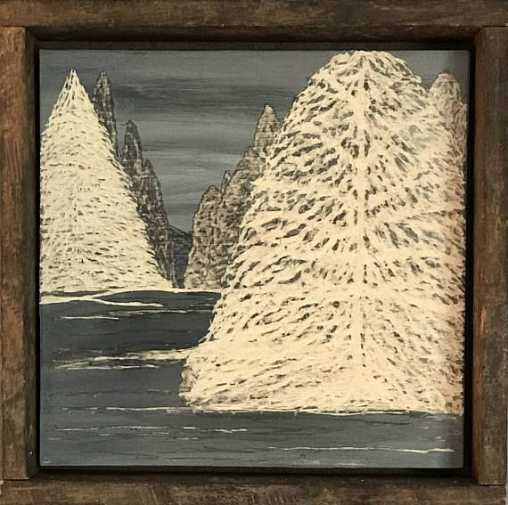 Rustic Home Decor, Winter Wall Art, Pine Trees, Cabin Lodge Camp ...