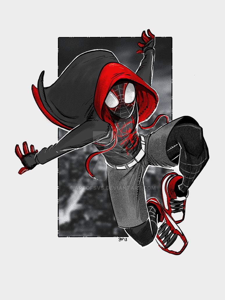 Miles Morales Enter The Spider Verse By Artofsvs On Deviantart Marvel Spiderman Art Spiderman Artwork Spiderman Drawing