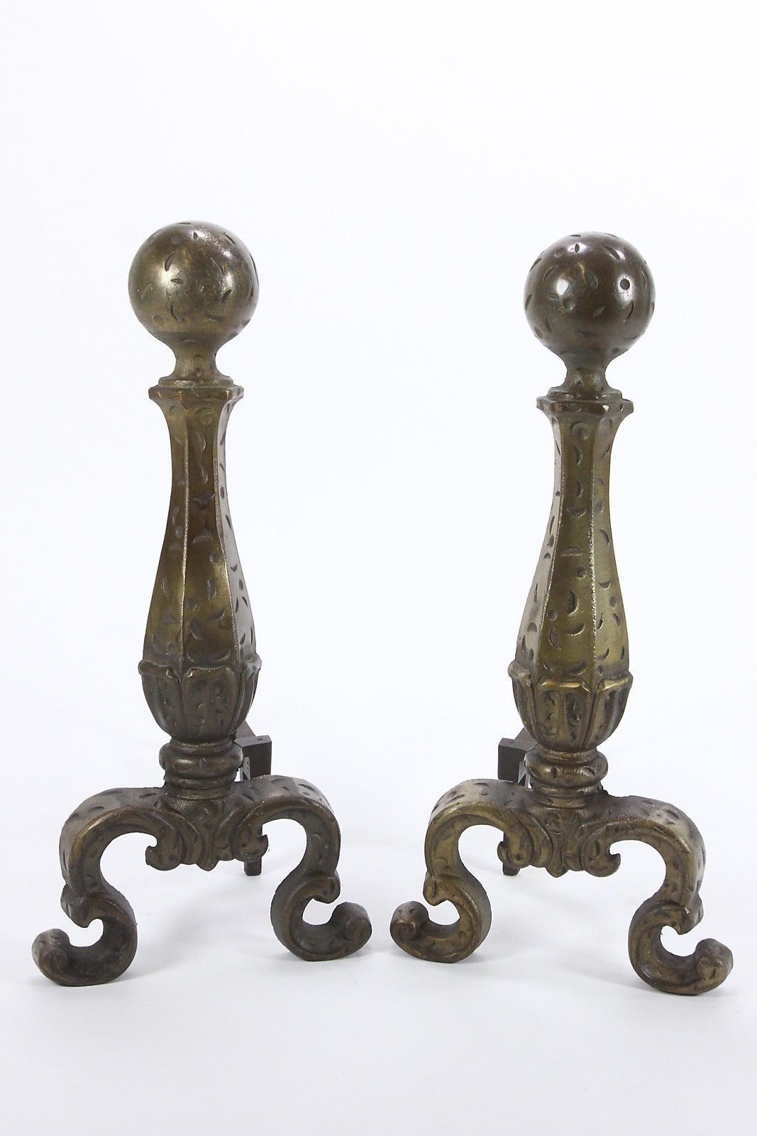 Pair Distressed Style Andirons Fire Dogs Fireplace Log Holder Marked 3713 1928 Fireplace Logs Log Holder Antiques