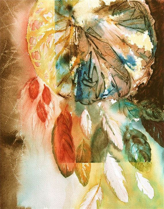Abstract Dream Catcher Watercolor Painting Feathers