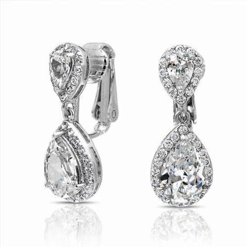 Bling Jewelry CZ Clear Double Teardrop Clip On Bridal Dangle Earrings Crown Setting Bling Jewelry. $25.99. Weighs 6 Grams. 1in L x 0.45in W. Rhodium Plated Brass, Cubic Zirconia. No Piercings Necessary. Double Teardrop Dangle Clip Ons. Save 52% Off!