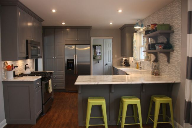 Diy Kitchen With Ikea Lidi Gray Cabinets Custom Trim And Panels Domsjo Double Farmhouse Sink