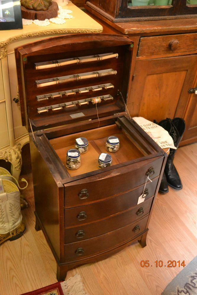 Vintage Mahogany Sewing Cabinet Circa, Vintage Sewing Cabinet