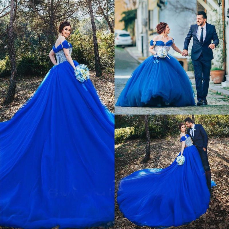 New Royal blue Wedding dress Bridal Ball Gown custom size 4-6-8-10-12-14-16-18