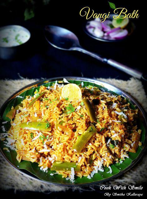 VANGI BHATH ( BHAAT / BATH ) RECIPE / BRINJAL RICE   Cook With Smile