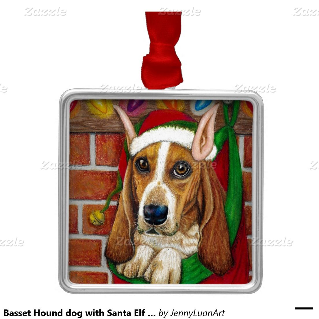 Basset Hound dog with Santa Elf Ear in Stocking Square Metal Christmas Ornament