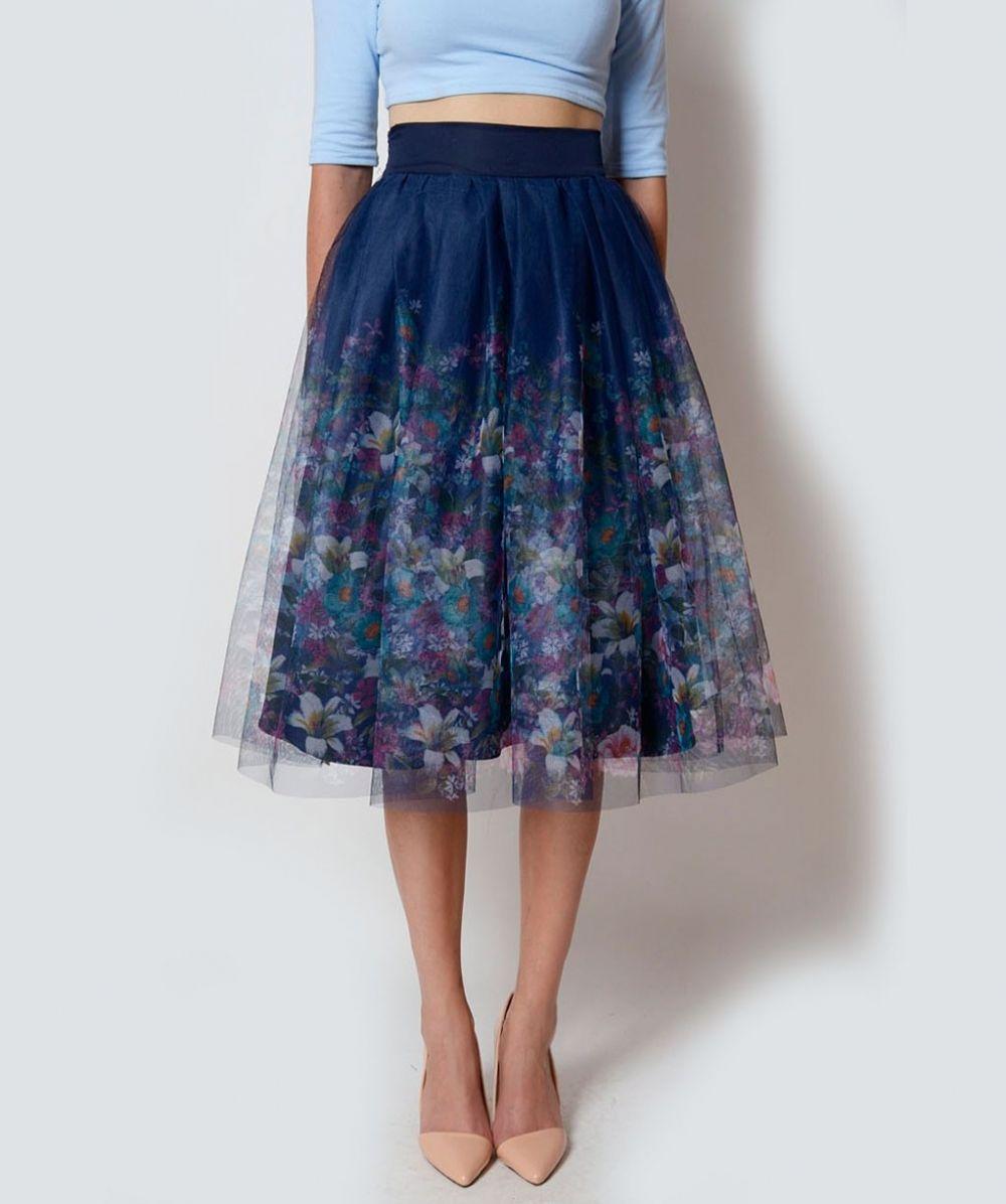 Granatowa Spodnica W Kwiaty Mosquito Szukaj W Google Fashion High Waisted Skirt Tulle Skirt