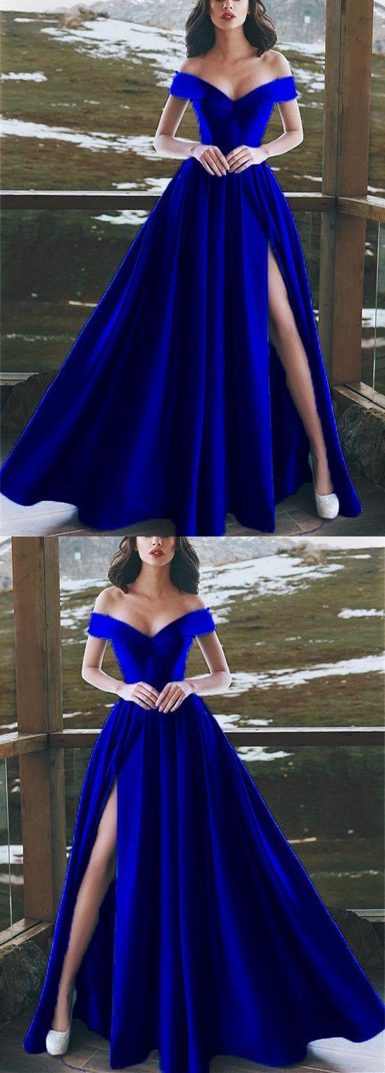 Elegant vneck off the shoulder long satin royal blue prom dresses