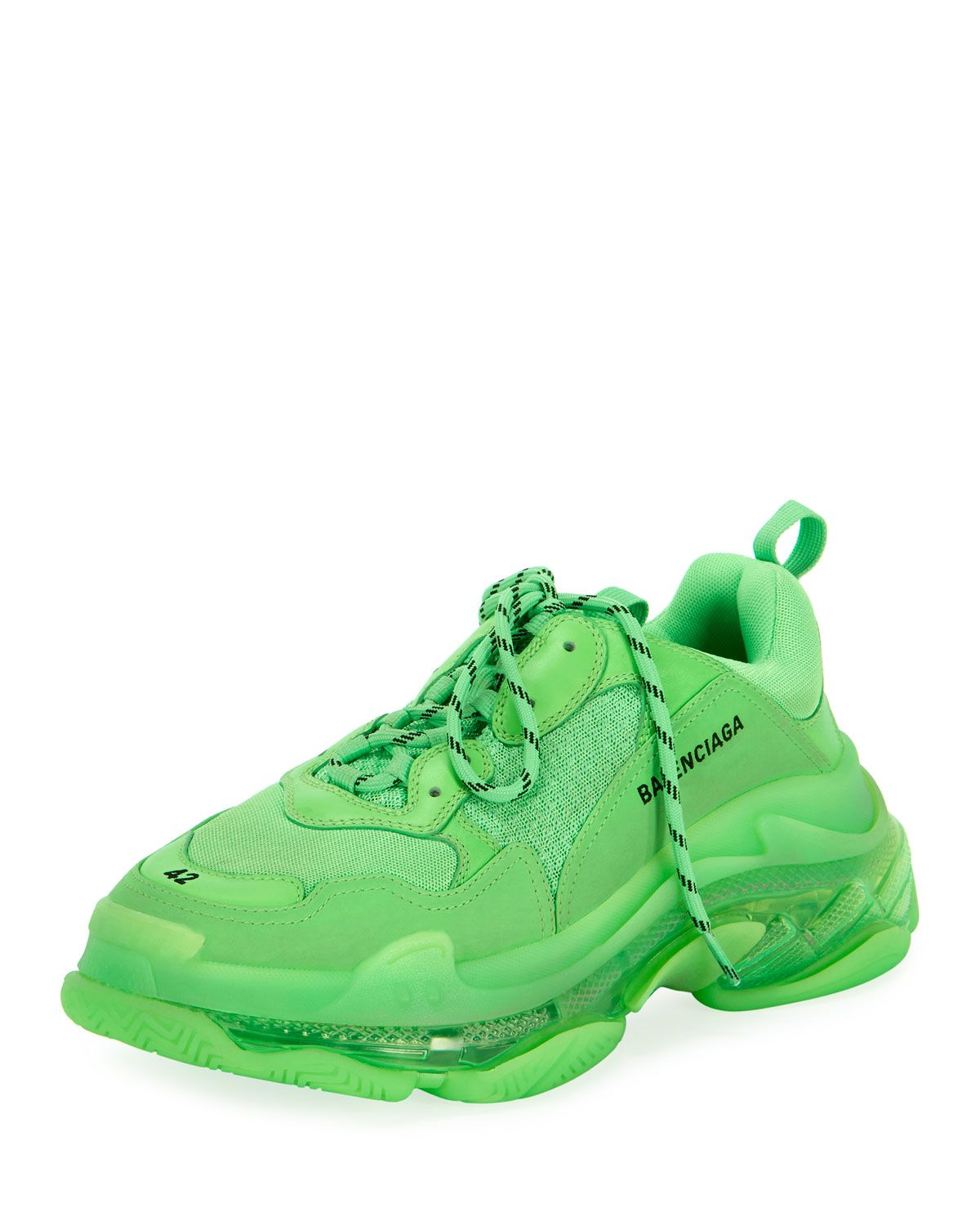 san francisco new authentic detailing BALENCIAGA MEN'S TRIPLE S MESH & LEATHER CLEAR-SOLE SNEAKERS ...