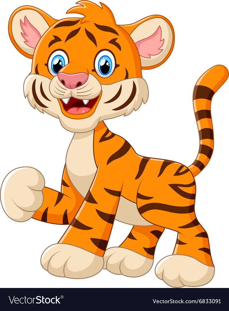 Illustration Of Cute Baby Tiger Cartoon Waving Download A Free Preview Or High Quality Adobe Illustrator Ai Cute Animals Baby Tigers Cute Animal Illustration