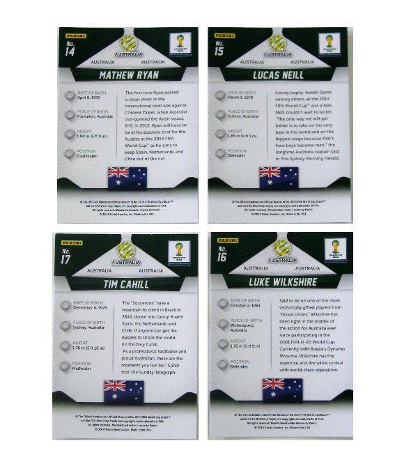 Prizm Cards Australien - Basis Set Einzelkarten Nr. 14-17 Rückseiten