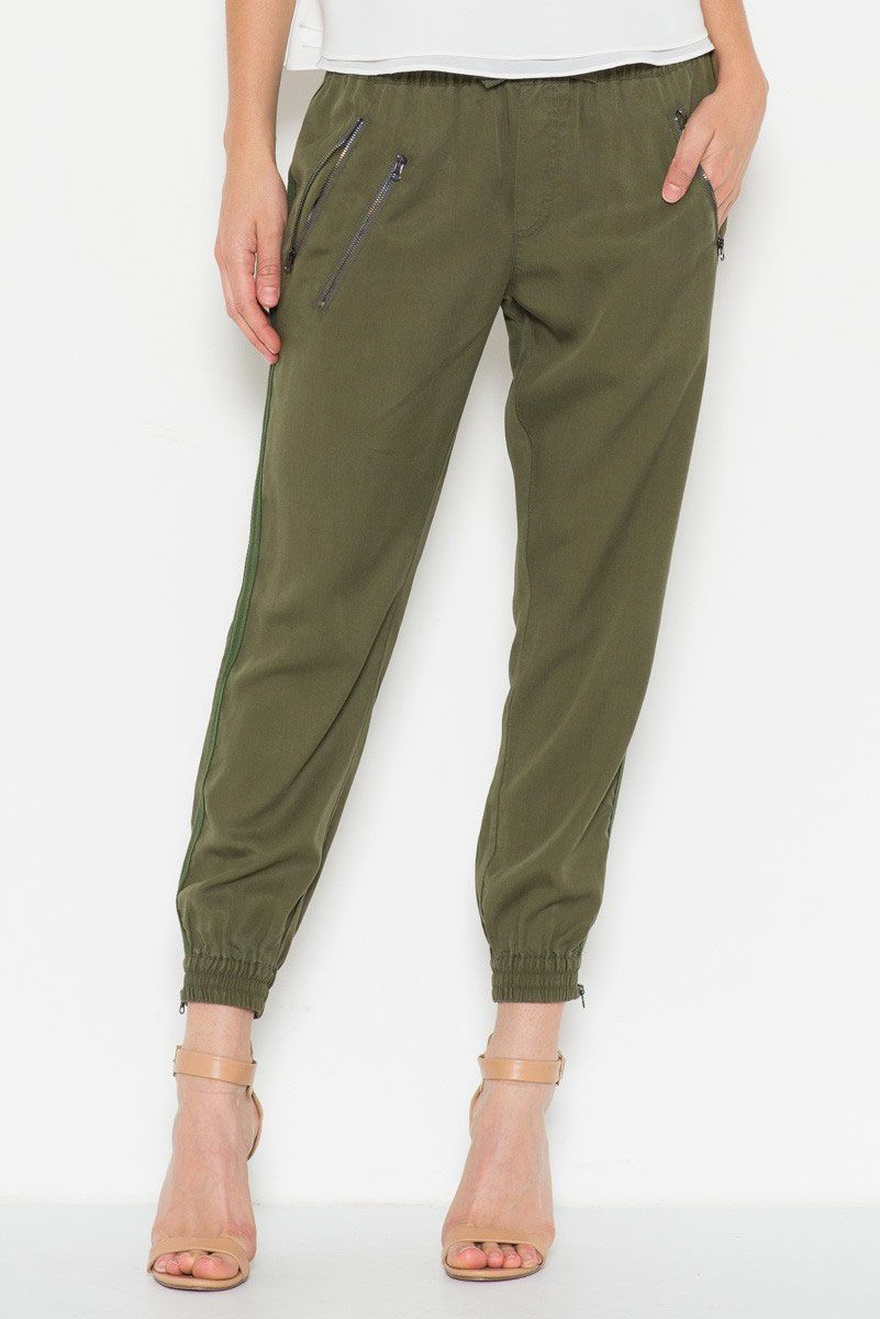 d0090289abd95 Fate Zippered Jogger Pants for Women in Olive
