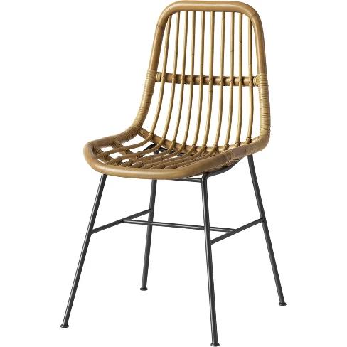 Fantastic Linnet Rattan Dining Chair With Metal Legs Light Brown Short Links Chair Design For Home Short Linksinfo