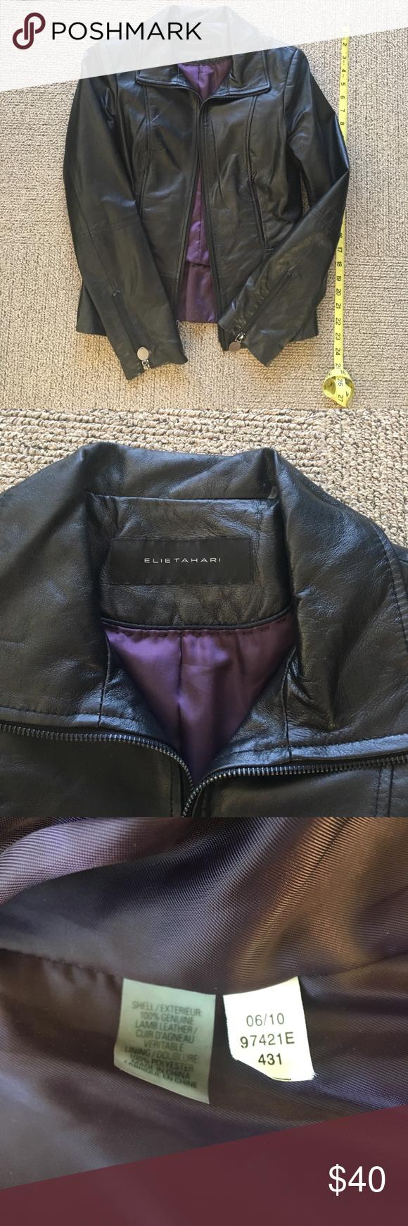 Elie Tahari Black Leather Jacket Black Leather Jacket Leather Jacket Jackets [ 1740 x 580 Pixel ]