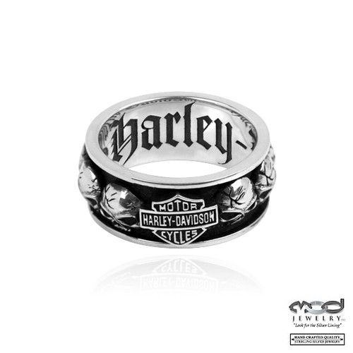 Harley Davidson Silver 's Spinning Skull Ring, Size 10 1/2 ...