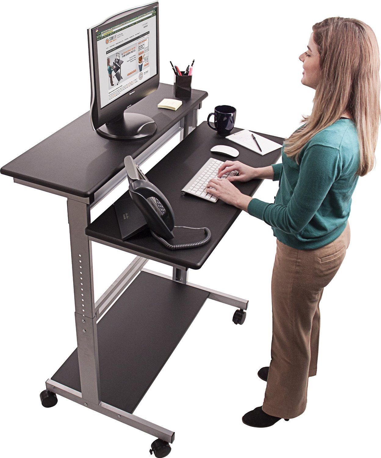 Desk kickstand furniture - Amazon Com 40 Black Shelves Mobile Ergonomic Stand Up Desk Computer Workstation
