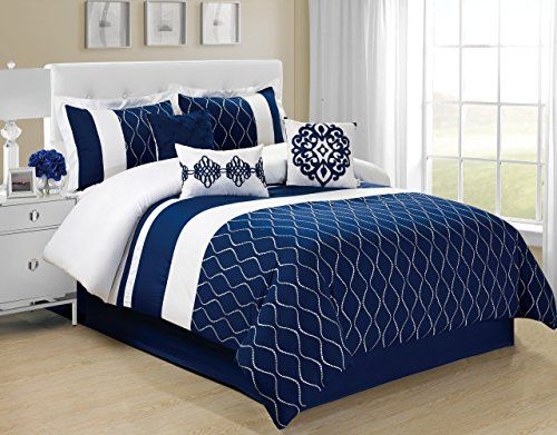 7 Piece Leaves Lattice Navy Blue Bed In A Bag Comforter Sest Queen Malibu Click Image To Review More Details A Comforter Sets Blue Bedding Navy Blue Bedding Navy and white comforter set queen