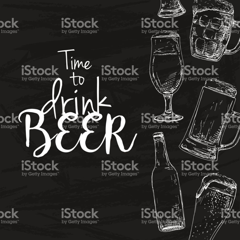 Background with beer. Drawing chalk on a blackboard. Caption: time ...