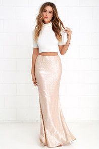 077aedcf7 Kickin' Up Stardust Blush Sequin Maxi Skirt | My Style | Sequin maxi ...