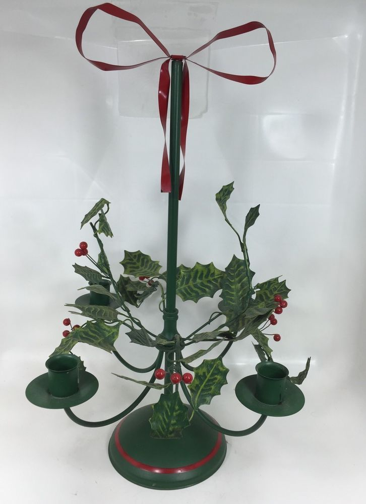 Vintage Petite Choses Metal Christmas Holly Table Centerpiece Candle Holder Petitechoses Candleholder Centerpieces Candle Table Centerpieces Candle Holders