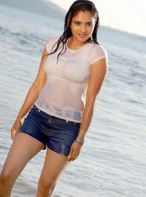 Ramya Divya Spandana Hot In Wet Bikini At Beach Hd Images