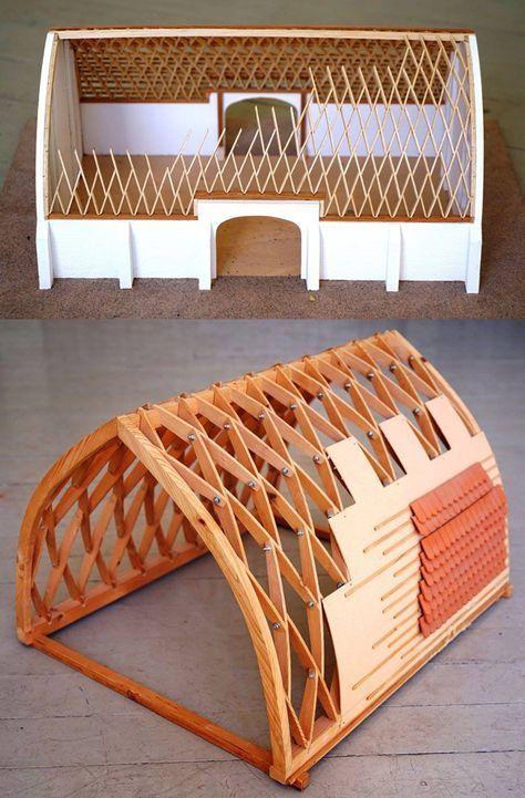 Lamella roof open source ecology art conceptuel in 2019 construction bois interieur - Maison design construction ...