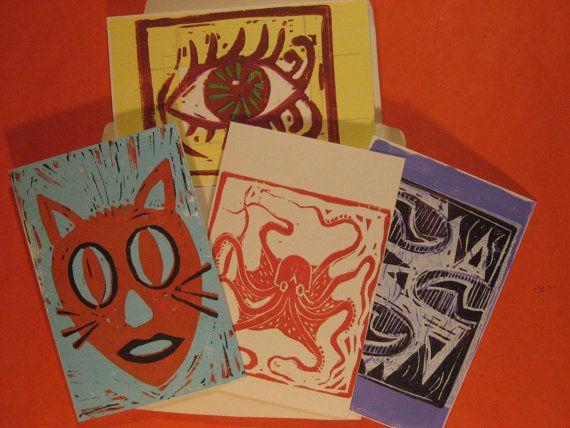 Four Blank Linocut  Postcards
