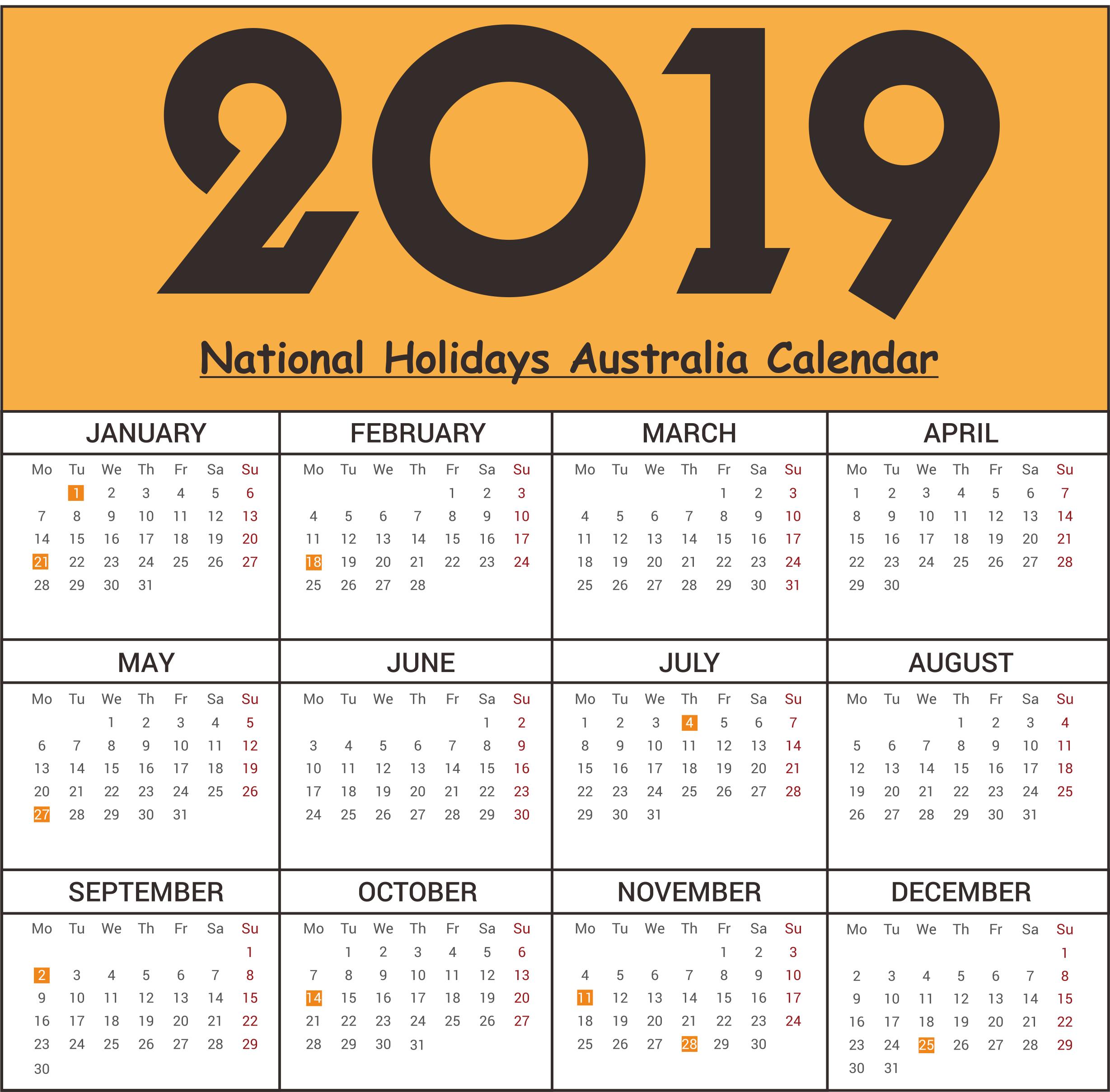 2019 National Holidays Australia Calendar 2019Calendar