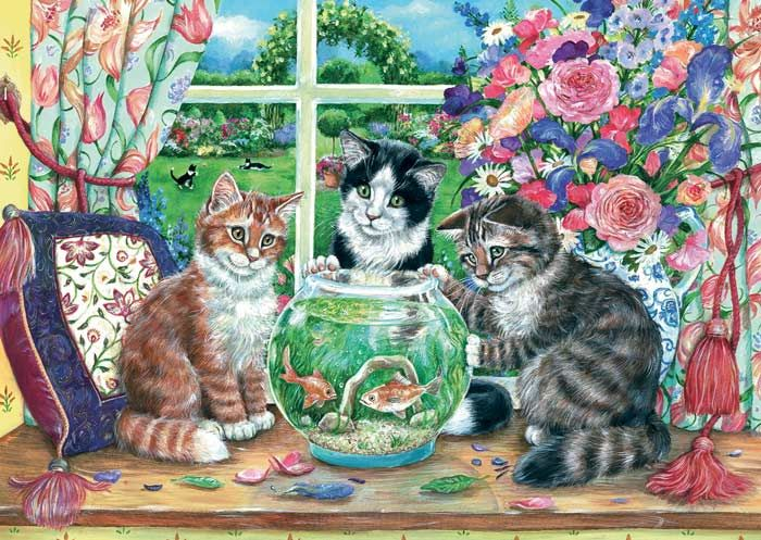 Just Looking by Debbie Cook ~ cats around fish bowl
