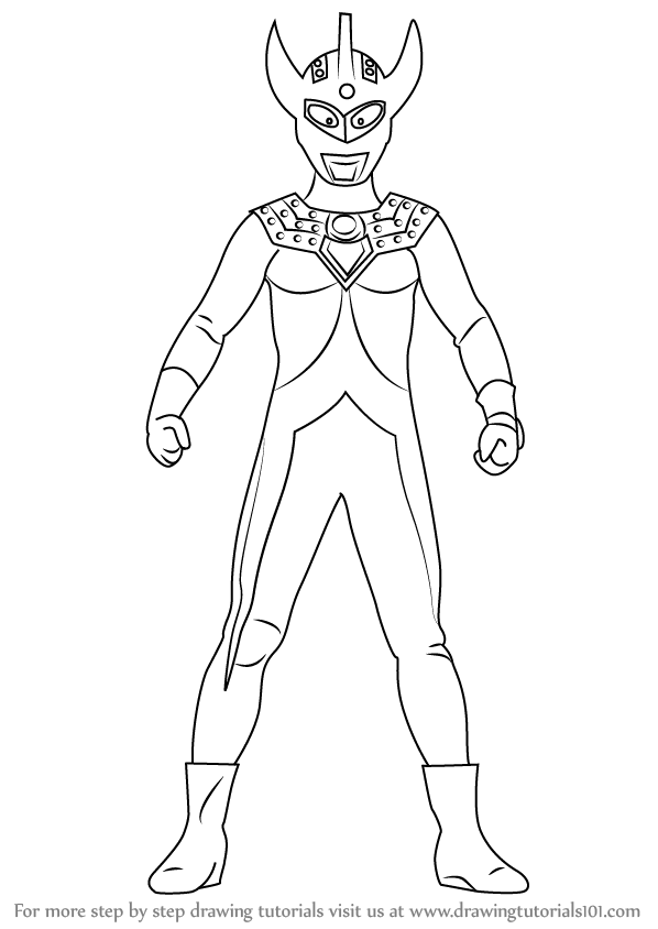Learn How To Draw An Ultraman Taro Ultraman Step By Step Drawing Tutorials Cara Melukis Halaman Mewarnai Buku Mewarnai