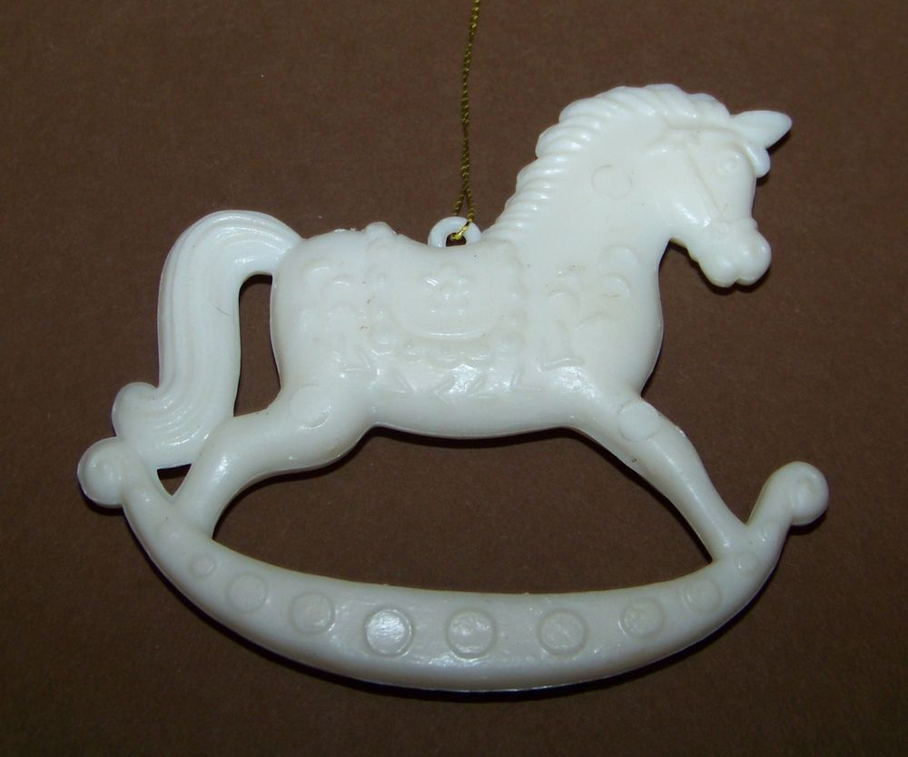 Vintage Rocking Horse Christmas Ornament White Cream #unknown