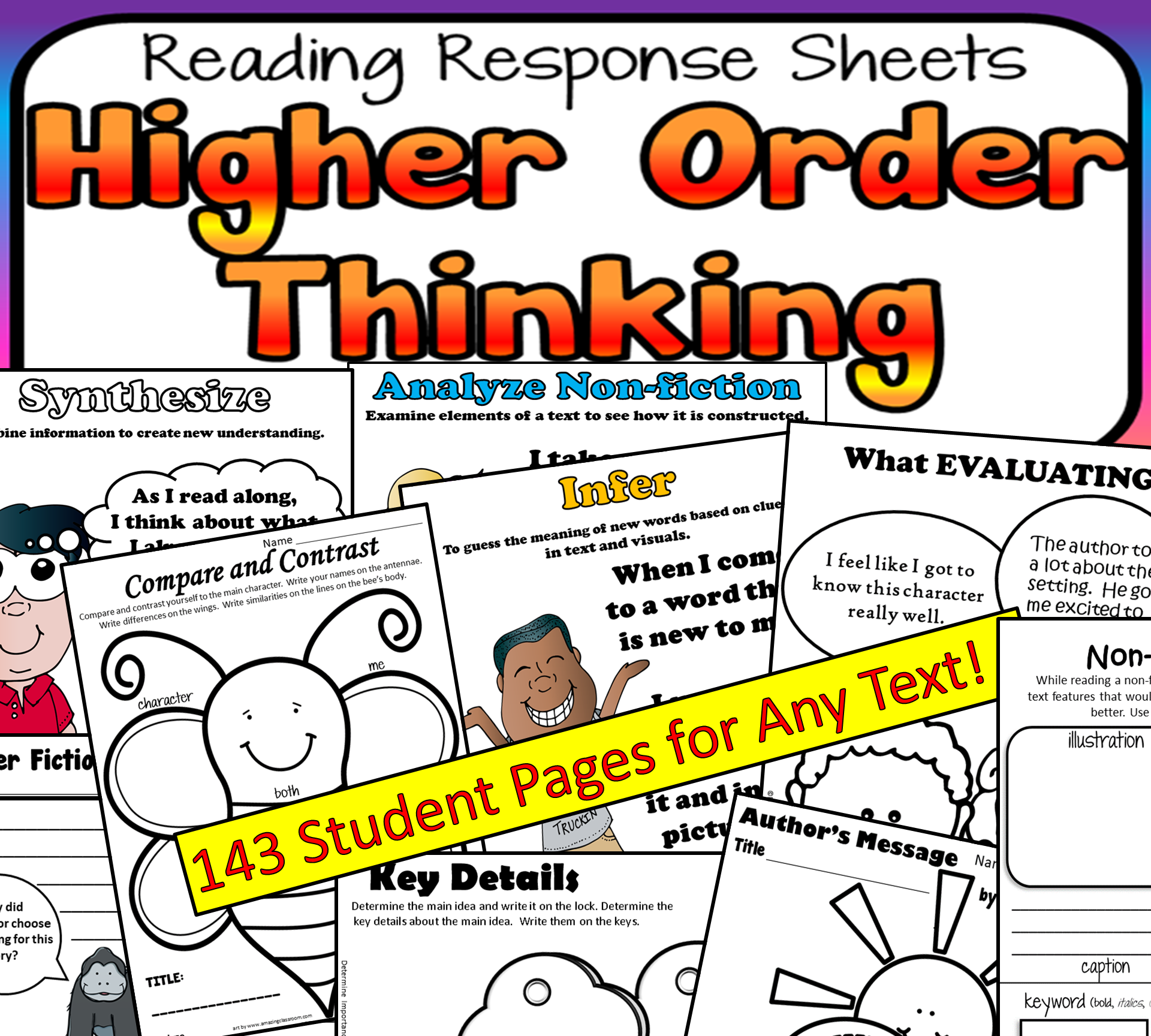 Higher Order Thinking Questions Reading Response Sheets