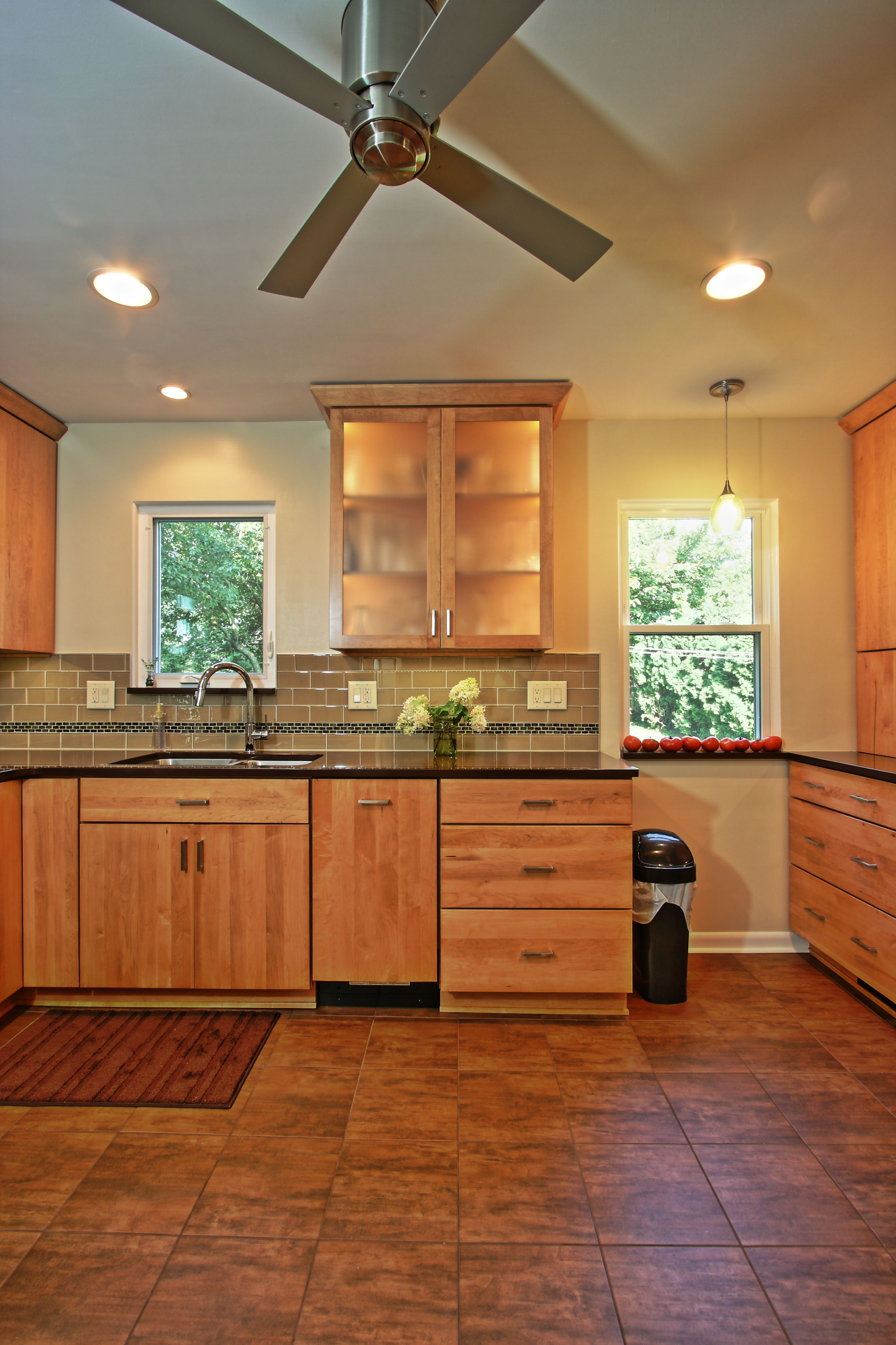 remodeled modern but organic kitchen kraftmaid avery cabinets in maple glass doors with on kitchen interior cabinets id=79707