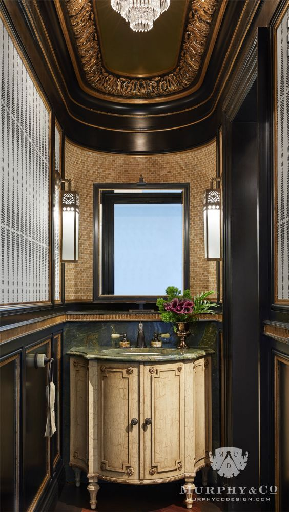 This Powder Room Exudes French Luxury With Rococostyle Details Such Custom Rococo Decorative Wall Tile