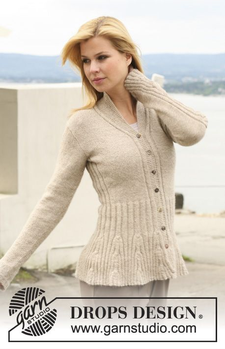 DROPS 123-1 - Knitted DROPS jacket with rib-pattern in Alpaca. Size ...