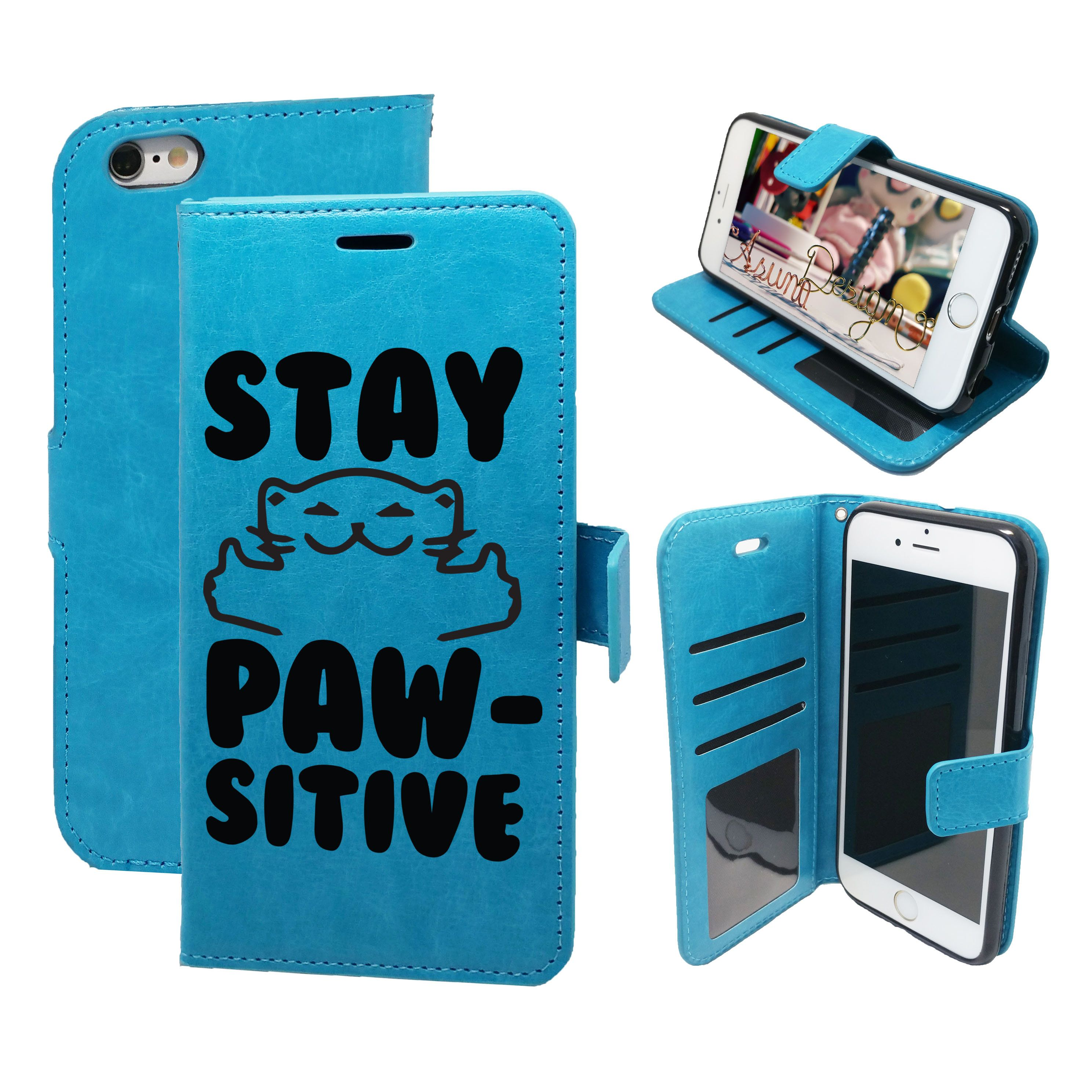newest e1a6c a9e3c Stay Pawsitive Cat Lover - Magnetic Wallet Card Holder Flip Case for ...