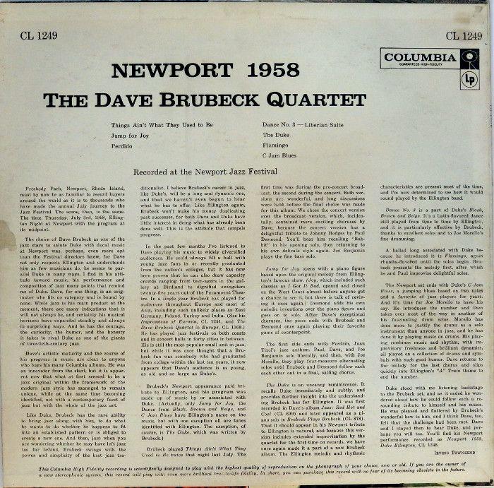 The Dave Brubeck Quartet Newport 1958 Columbia Usa