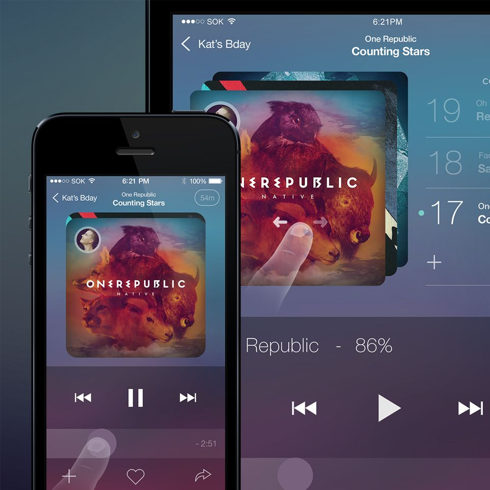 Music Player App for iOS PSD file   Free UI/UX Kit   Music app