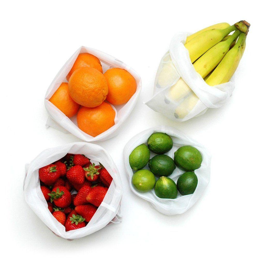 5pcs//set reusable mesh produce bags washable Eco-Friendly vegetable toy mesh bag