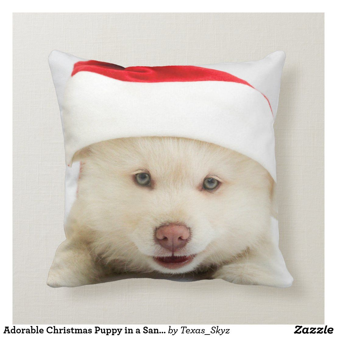 Adorable Christmas Puppy in a Santa Hat Cushion Zazzle