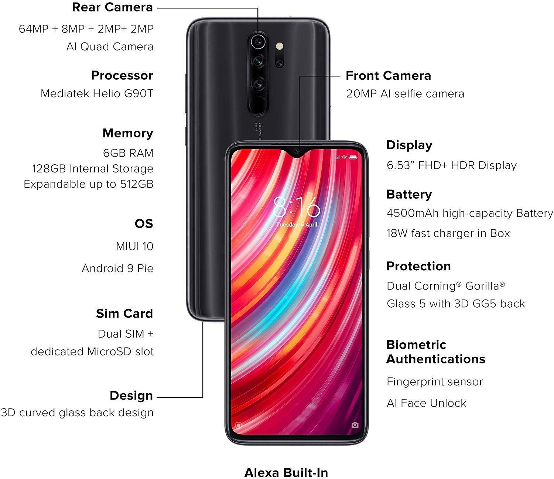 Buy Redmi Note 8 Pro Shadow Black 6gb Ram 128gb Storage Samsung Phone Cases Processor Curved Glass