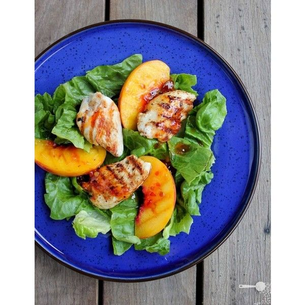 {5 ingredient} Grilled turkey and peach salad ❤ liked on Polyvore