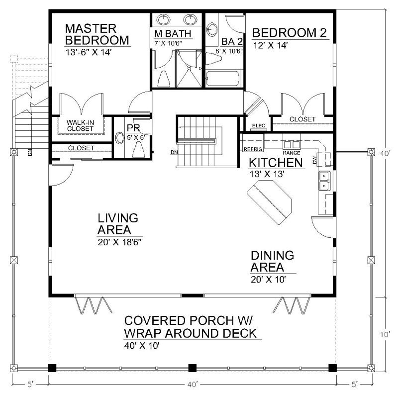 Clearview 1600LR 1600 sq ft on piers Beach House Plans